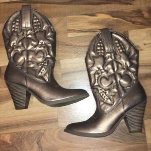 Mossimo high heel bronze cowgirl boots